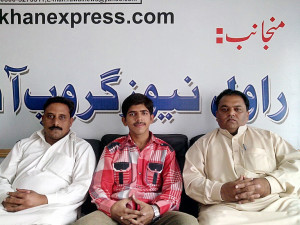 Moneeb Junior with Mr. Syed Munawar Naqvi and Naveed Afsar Raja