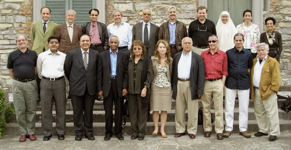 "A group photo of all the participants, taken during ""Challenges for Science in Muslim Countries,"" a closed-meeting, jointly organized by Rockefeller Foundation and Nature Publishing Group, in May 2006 with Daniel Sheffer, Sameer Hamruni, ASTF, UAE, Prof.Dr. Atta ur Rahman, Ziauddin Sardar, London, UK, DR. M H Hassan, TWAS, Farida Shah, Dr. Saleh Al Athal, Saudi Arabia, Dalaila Al Khazairi, Egypt, Nader Fergany, Philip Campbell, Editor in Chief, Nature Publishing Group, Declan Butler, Nature, France, Nadia El Awady, Egypt, Ehsan Masood, Huda Al Mikati, Allen Fischer, US and Zohra Ben Lakhdar, Tunisia at Bellagio, Italy."