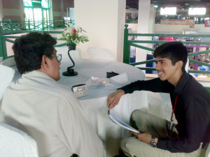 Mr. Aleem Ahmed giving interview to Moneeb Junior (21 September, 2012)