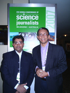 Mr. Aleem Ahmed with Nalaka Gunawardanay, one of the most prominent Science Journalist of Sri Lanka. Melbourne, Australia. 2007