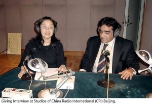 Giving interview at Studios of China Radio International (CRI) at Beijing.